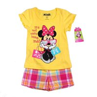 Wholesale Minnie Mouse Short Sleeve T Shirt Girl Dress Best Suits Child Clothes Kids Clothing Summer Shorts Girl Suit Outfits Children Set C6199