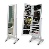 Wholesale Ship From USA Wooden Mirror Jewelry Armoire Storage Cabinet Cosmetic Organzer with Drawer Home Furniture
