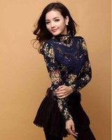 Nuovo Autunno donne di arrivo Collo alto sottile coreano stampato floreale di alta qualità pizzo collo alto a maniche lunghe da uomo Hollow Bead camicette
