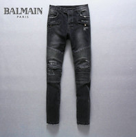 100% cotton denim jeans - Mens Balmain Destroyed Denim Biker Jeans Grey NWT size