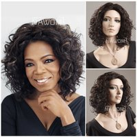 Wholesale Fashion Oprah Wigs Dark Brown Curly Short Synthetic Hairpiece Young African Afro Periwig Black Women Hair Clip Kanekalon W3820