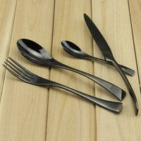 Wholesale Aoosy High grade Titanium black Flatware Stainless Steel Mirror Polishing Dinnerware Set include Knife Spoon Fork