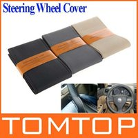 Wholesale Popular DIY Car Steering Wheel Cover Artificial Leather Hand Sewing with Needle and Thread Black Beige Gray for choice Brand New