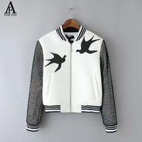 Wholesale Collar Decorated Ladies - Wholesale-2015 Autumn Lady Jacket Casual Style swallow Print Stand-up Collar Zipper Decorated Long Sleeve Women Jacket Black