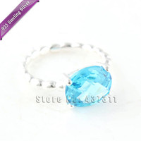 Wholesale 925 Sterling Silver Blue Topaz Ring Cool Breeze blue crystal ring Matching Wedding Band RIP029