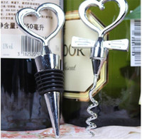 color bottle packaging - 2015 Novelty Great Combination Wedding Favors Chrome Heart Bottle Stopper Wine bottle Opener Metal corkscrew luxury packaging