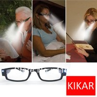 Wholesale Strength KIKAR Fashion LED Reading Glasses w Plastic Case Night Reader Eye Light Eyeglass Spectacle Diopter Toys Magnifier
