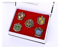 Wholesale Harry Potter Metal Brooch Cosplay Badge Ravenclaw Hogwarts Slytherin Hufflepuff Christmas Gifts