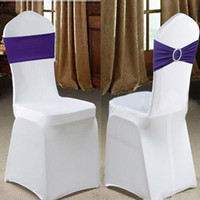 acrylic chairs - 10Pcs Lycra Chair Spandex Stretch Cover with Acrylic Buckle Slider for Wedding Banquet Party Hotel Chair Decoration