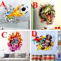 Wholesale 3D Wall Stickers Pirate Football Skateboard Dinosaur Jurassic World Vinyl Decals for Kids Room Decoration Removable Wallpaper