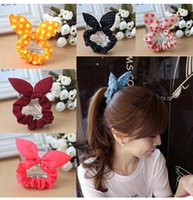 american pony - Hot fluorescent ears first lap sponge cloth hair accessories bow hair ring hair rope bunny ears