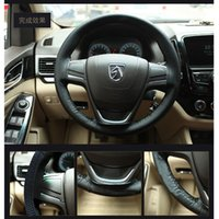 Wholesale Black Superfine Fiber Leather Car Steering Wheel Cover With Needle and Thread