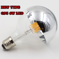 bulbs and lighting - New type half clear glass and half sliver color glass G95 LED filament light warm white w E27 V V dimmable LED Bulb Light