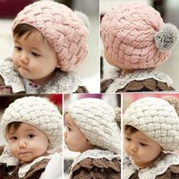 Cheap 1PCS Newest Fashion Baby Kids Girls Cute Warm Winter Knit Crochet Beanie Hat Cap Free shipping & wholesale