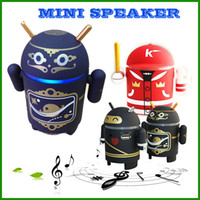 android ninja - 2016 google creative cartoon Mini Android Robot Bluetooth Speaker Beijing Opera Ninja baseball support FM SD card Radio TF MP3 wireless