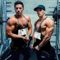 Wholesale Golds Gym Tank Top Men Sleeveless Shirt Bodybuilding Stringer Fitness Men s Cotton Sports Singlets Muscle Clothes Plus Size Vest hight quali