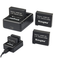 Wholesale 3x mAh KingMa AHDBT Dual port Home Charger for Gopro Hero HD camera battery A Sanyo Battery Cell Real Capacity