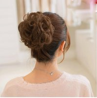 Wholesale Elegant Fashion Women curly Hairpiece Hair Bun Pony Tail Hair Extension Bun Hairpiece L04081