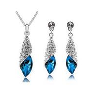 african deserts - Full Rhinestone Leaf Necklace Earrings Sets Desert light Jewelry Sets For Women Best Gift Wedding Jewelry