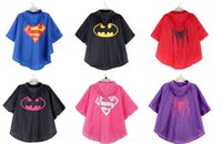 Wholesale 10pcs new arrive superman batman spiderman superhero kids waterproof Rain Coat children Raincoat Rainwear colors options with bags D206
