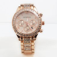 Wholesale Brand New geneva Watch Women Anlog Quartz Decoration Chronnograph Compass Gold Silver Rose Gold Dial Stainless Steel Watch