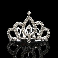 Wholesale Rhinestone Tiara Hair Clip Fashionable Queen Princess Crown Comb Clasp Brand New US Shipping S01558