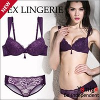 Wholesale Sexy Bras For Cheap - Wholesale-Cheap hot bras for girls push up lace bra and panties secret hot fashion brand sexist solid vs bras underwear set women sexy