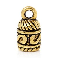 Cheap Necklace Cord End Cap Beads Tips For Leather Cord Jewelry(Fit 5mm Cord)Gold Tone Pattern Carved 13x 7mm,100 PCs 2015 new