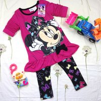 Wholesale Baby Girls Minnie Mouse Clothing T T Kids Autumn Clothes Set Cartoon Long Sleeve Tunic Tops Leggings Pants Piece Cotton Outfits