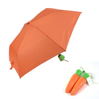 Wholesale Creative Design Women s Compact and Portable Fold Manual Umbrella Parasol Sunny Rainy Carrot Umbrellas For