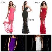 Wholesale Sexy See Through Prom Dresses Lace Appliques Tulle Illusion Sweetheart Strapless Graduation Homecoming Gown Rhinestones Floor Length