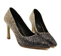 Cheap Gradient silver gold sequined glitter wedding shoes women sexy spool high heels pumps prom silver rhinestone pumps