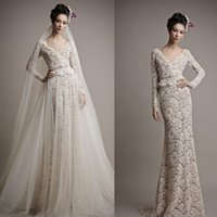 atelier beads - 2016 Lace Wedding Dresses Two Piece Wedding Gowns with Long Sleeve V Neck Sweep Train Backless Evening Wear Ersa Atelier