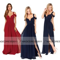 navy blue bridesmaid dresses - IN STOCK Cheap Navy Blue Bridesmaid Dress A Line Sweetheart Long Burgundy Chiffon Maid of honor Dresses Formal Evening Gown Party Dress