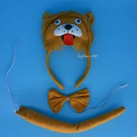 Wholesale XMAS Party D Lion EAR Animal Costume Headband Bow Tie Tail pc set