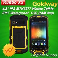 Wholesale Original Runbo X5 IP67 Dustproof Waterproof with Walkie Talkie function quot MTK6577 Dual Core RAM GB MP camera Dual SIM