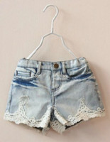Cheap Wholesale-Bermuda menina jeans lace patchwork ripped denim shorts for girls roupas infantis 2015 summer new arrival retail