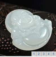 Wholesale 2015 NEW Natural Afghanistan white jade necklace lover s Fashion maitreya Laughing Buddha pendant JADE jewelry A188
