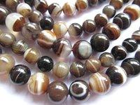 Wholesale genuine Botswana agate round ball brown black veins loose beads mm strands