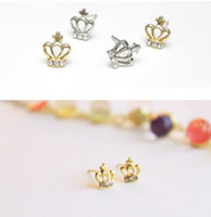 Wholesale Crown shape earring decorating with little diamond Anti allergic fasion style no fade Hign quality and