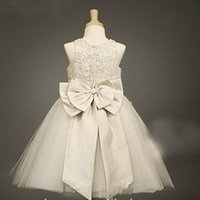 Wholesale So Exquisite Knee Length Flower Girls Dresses Formal Gown With Popular Ivory A Line Lace Jewel Bowknot Appliques Sequins Ankle Length