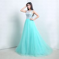 Wholesale Turquoise Vintage Elegant Lace Tulle Applique Crew praty dresses Bridesmaid gowns covered Button Custom A Line Prom Dresses diyouth