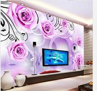 Wholesale Customize wallpaper Rose reflection stereoscopic D TV backdrop d wallpaper d mural wallpaper 4031