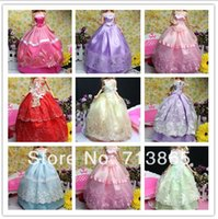 doll clothes hangers - 40pcs styles for choose items Dress Shoes Hangers Handmade Gown Dress Clothing For Barbie Doll