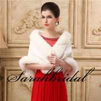 Wholesale 2015 Cheap Bridal Wrap Faux Fur Wedding Ivory Winter Wedding Bridal Must have Wrap Abaya Thermal Protection With Pearl Ball Free Size