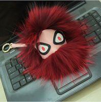 Wholesale hot sale Fox fur Leather Monster Pom Pom Doll Ball keychain Bag car key Charm pendants