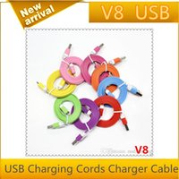 Wholesale vender cheap M Micro V8 Noodle Flat Data USB Charging Cords Charger Cable Line for Samsung Android Phone MQ1000