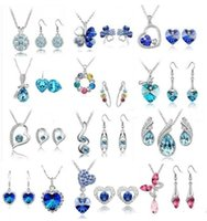 asian jewelry - 12 Set high quality crystal diamond pendant necklace and earrings Sets a variety of styles for Women Jewelry Set