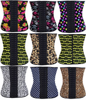 Wholesale 015 NEW Mixed Waist Training Cincher Underbust Corset Steel Boned Body Shaper Shapewear batman leopard latex rubber Corset S XL Women girl