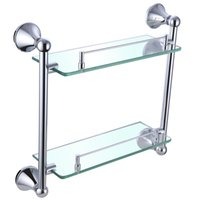 Wholesale High quality all copper bathroom accessories double glass shelf hardware I714 hotel home project
